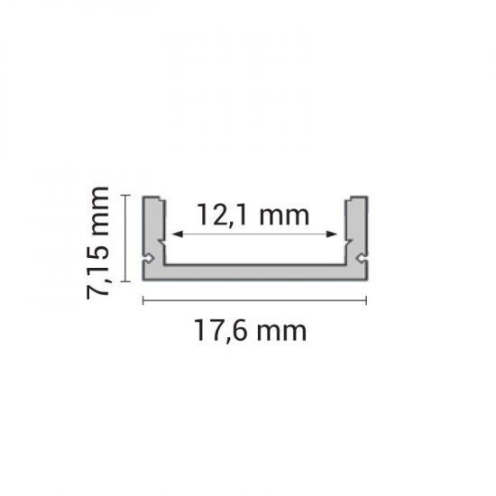 OPTONICA Led profil opál fedővel 7mm-2m , 5184