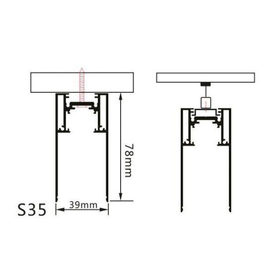 Optonica Mágneses sínrendszer, függeszthető, 1m, fekete, 5350