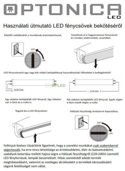 OPTONICA LED fénycső  üveg  T8  22W  30x1500mm  hideg fehér  5607