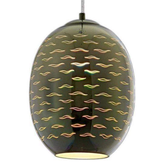 OPTONICA 3D üveg függő fény króm színek sirály mintás E27,9011