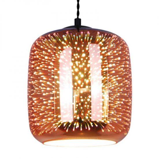 OPTONICA 3D üveg függő világos réz színű tűzijáték  E27, 9013