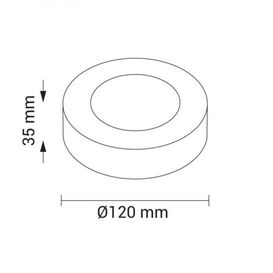OPTONICA FALON KÍVÜLI LED PANEL / 6W / KÖR / 120mm / meleg fehér/ DL2232