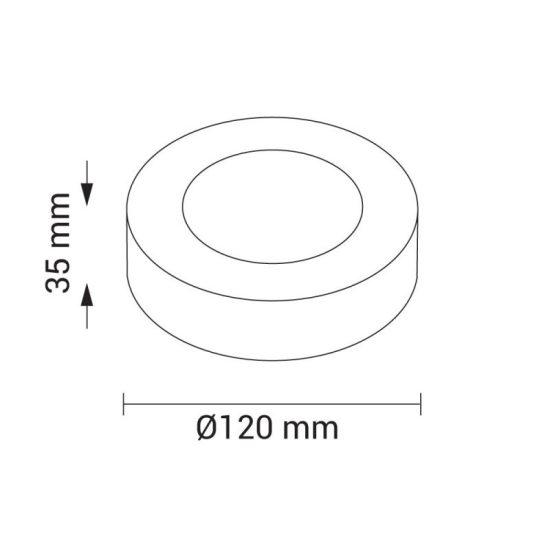 Optonica Falon kívüli kör LED panel (120 mm) 6W - meleg fényű (2232)