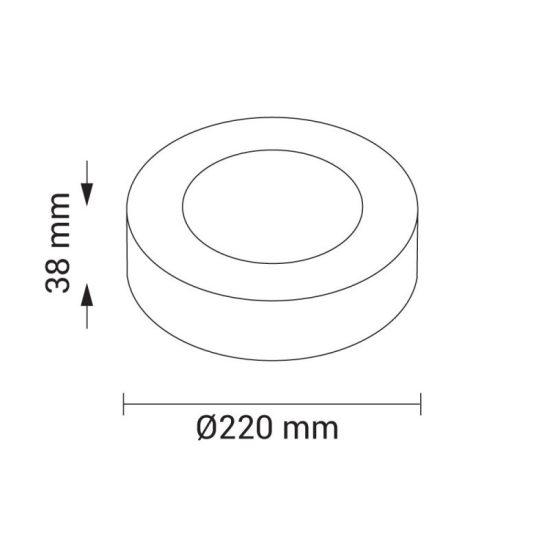 OPTONICA FALON KÍVÜLI LED PANEL / 18W / KÖR / 225mm / hideg fehér/ DL2235