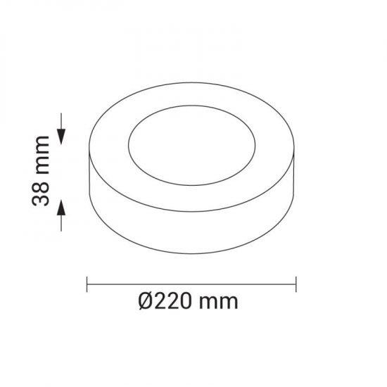 OPTONICA FALON KÍVÜLI LED PANEL / 18W / KÖR / 225mm / meleg fehér/ DL2236