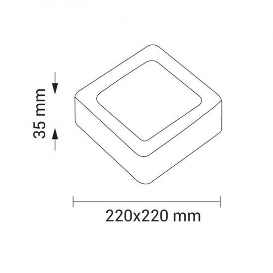 OPTONICA FALON KÍVÜLI LED PANEL / 18W / NÉGYSZÖG / 220x220mm /  meleg fehér /DL2242