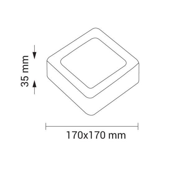 OPTONICA FALON KÍVÜLI LED PANEL / 12W / NÉGYSZÖG / 167x167mm /  nappali fehér /DL2253