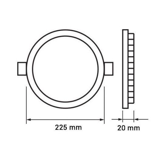Optonica  LED PANEL / 18W / KÖR / 225mm  / meleg fehér/ DL2336