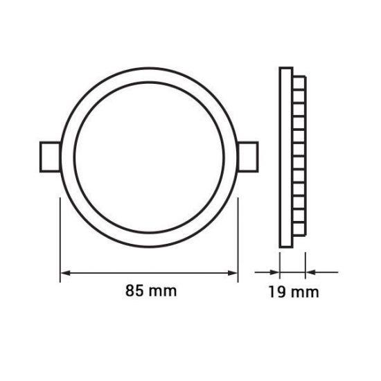 OPTONICA MINI  LED PANEL / 3W / KÖR / 85mm  / nappali fehér/ DL2432