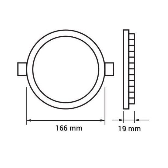 Optonica  LED PANEL / 12W / KÖR / 170mm  / meleg fehér/ DL2439