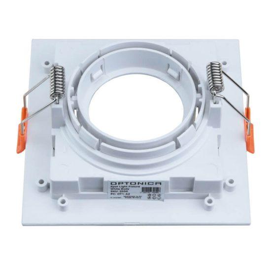 Optonica Beépíthető spot keret, négyzetes, GU10-es foglalat, fehér / MAX 35W/ IP20 / OT2050