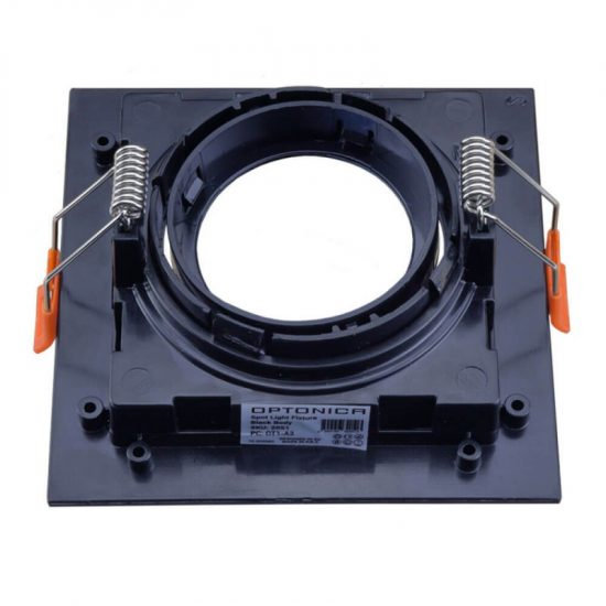 Optonica Beépíthető spot keret, négyzetes, GU10-es foglalat, fekete / MAX 35W/ IP20 / OT2051