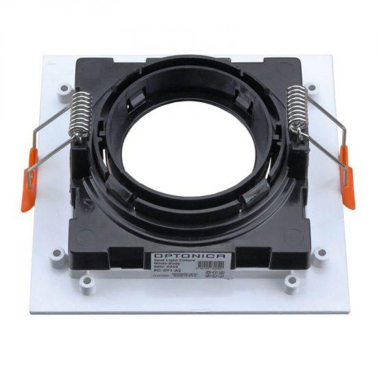 Optonica Beépíthető spot keret, négyzetes, GU10-es foglalat, fehér-fekete belső / MAX 35W/ IP20 / OT2052