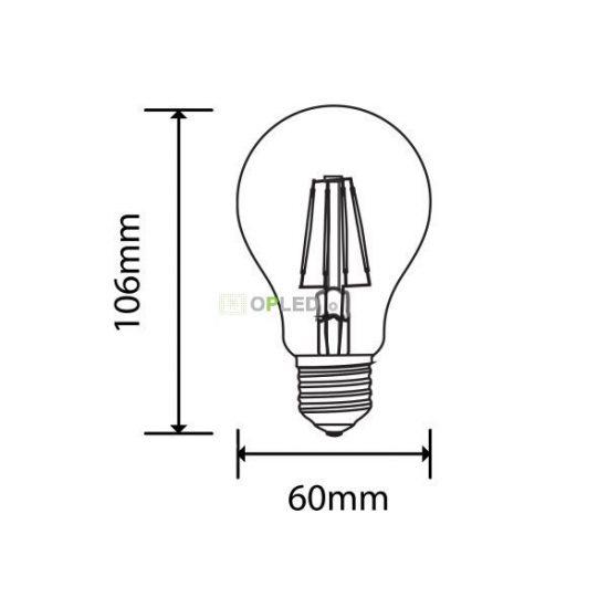 OPTONICA LED Filament E27 A60 /4W/400lm/6000K/hideg fehér/SP1857