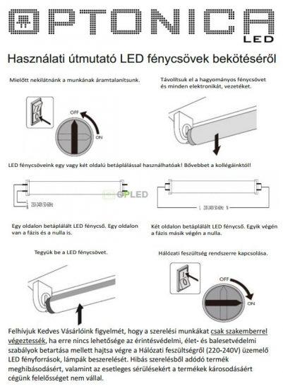 OPTONICA LED fénycső / T8 / 9W /28x600mm/  hideg fehér/ TU5670