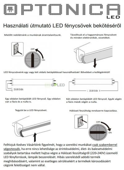 OPTONICA LED fénycső / T8 / 18W /28x1200mm/  hideg fehér/ TU5673