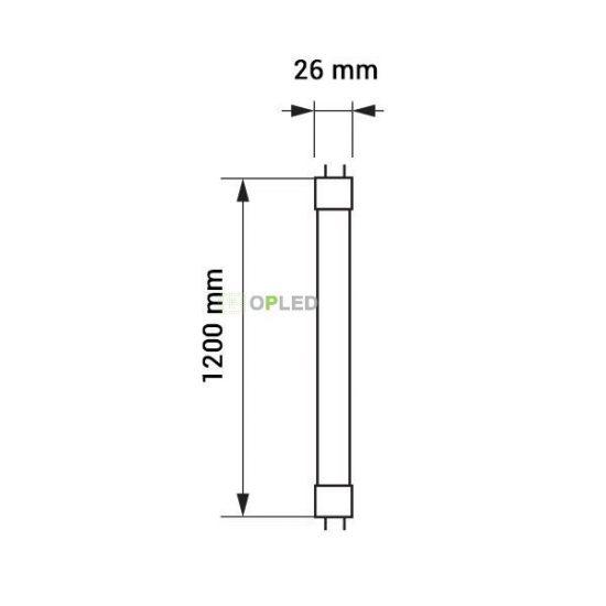 OPTONICA LED fénycső / T8 / 18W /28x1200mm/  meleg fehér/ TU5675